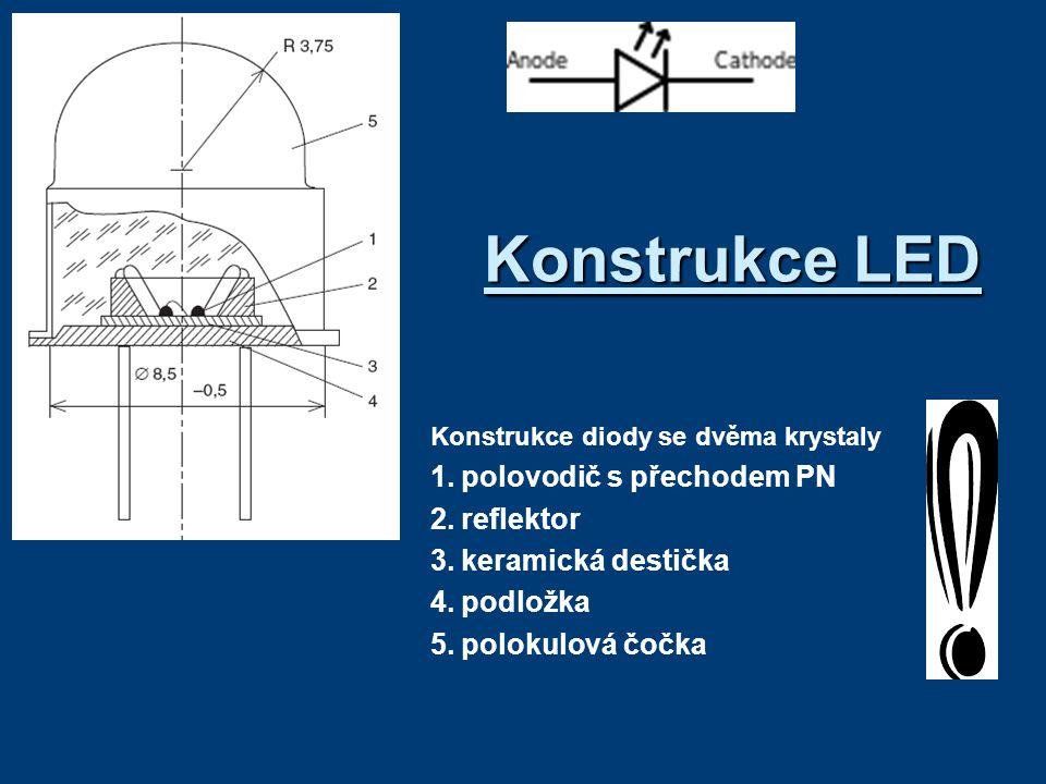 Konstrukce LED Konstrukce diody se dvěma krystaly 1.polovodič s přechodem PN 2.reflektor 3.keramická destička 4.podložka 5.polokulová čočka