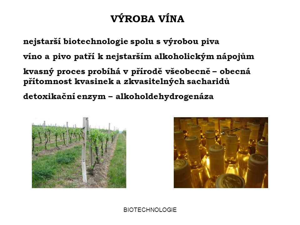 BIOTECHNOLOGIE VÝROBA VÍNA nejstarší biotechnologie spolu s výrobou piva víno a pivo patří k nejstarším alkoholickým nápojům kvasný proces probíhá v p