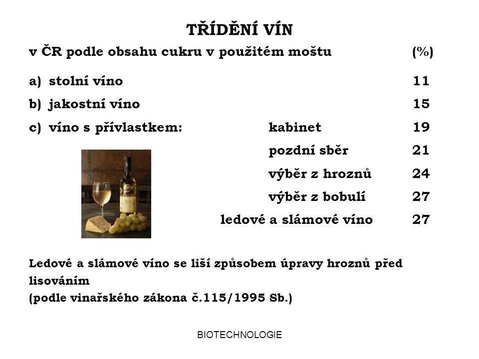 BIOTECHNOLOGIE TŘÍDĚNÍ VÍN v ČR podle obsahu cukru v použitém moštu (%) a)stolní víno11 b)jakostní víno15 c)víno s přívlastkem:kabinet19 pozdní sběr21