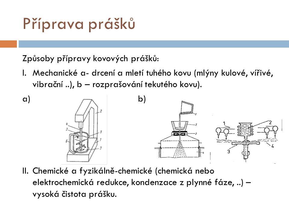 Příprava prášků Způsoby přípravy kovových prášků: I. Mechanické a- drcení a mletí tuhého kovu (mlýny kulové, vířivé, vibrační..), b – rozprašování tek