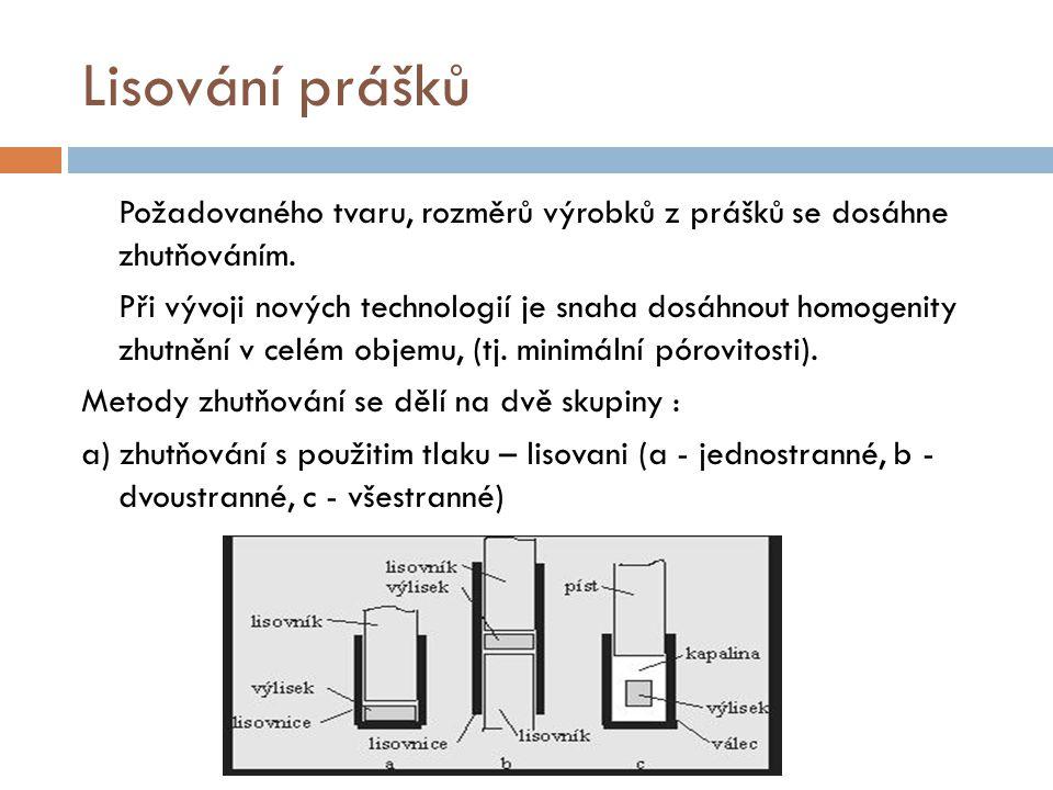 Lisování prášků Další metody s použitím tlaku - izostatické lisování, lisování explozí, válcování, protlačování, kování).