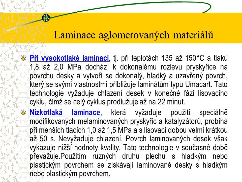 Laminace aglomerovaných materiálů Stručný popis technologie laminace Podkladové materiály (DTD, PAD, DVD) se opatří oboustranně soubory papírů, impregnovaných vhodnými typy pryskyřic.