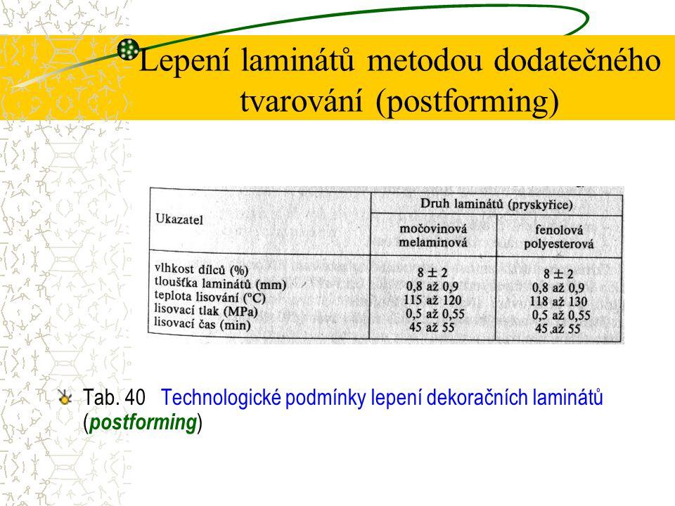 Lepení laminátů metodou dodatečného tvarování (postforming) Při olepování dílců se používají tyto materiály: podkladové- zpravidla dřevotřískové desky s jemnou a homogenní strukturou, dokončovací- různé typy dekoračních laminátů, spojovací- různé typy lepidel.