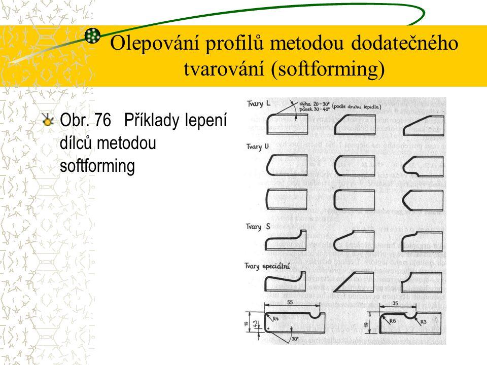 4.4.7Olepování profilů metodou dodatečného tvarování (softforming) Tímto způsobem se olepují profilované lišty, profilované boční plochy (hrany) nábytkových dílců dýhami nebo fóliemi z plastů opatřenými nánosem speciálního lepidla PVAC.