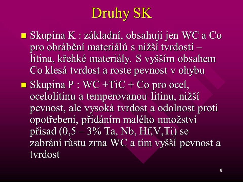 8 Druhy SK Skupina K : základní, obsahují jen WC a Co pro obrábění materiálů s nižší tvrdostí – litina, křehké materiály. S vyšším obsahem Co klesá tv