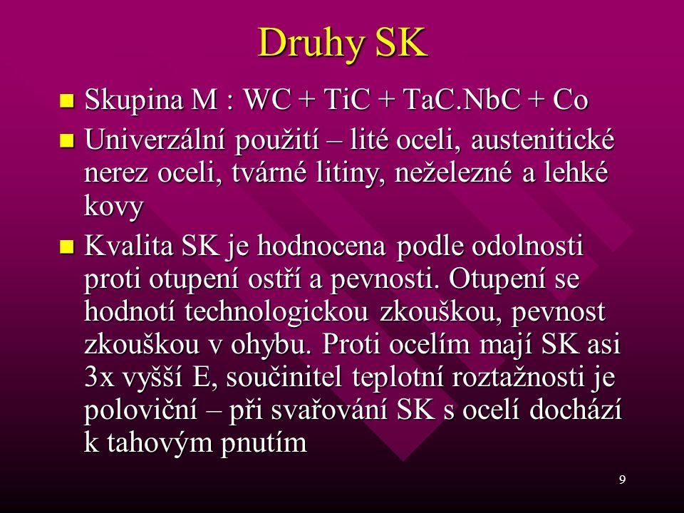 9 Druhy SK Skupina M : WC + TiC + TaC.NbC + Co Skupina M : WC + TiC + TaC.NbC + Co Univerzální použití – lité oceli, austenitické nerez oceli, tvárné