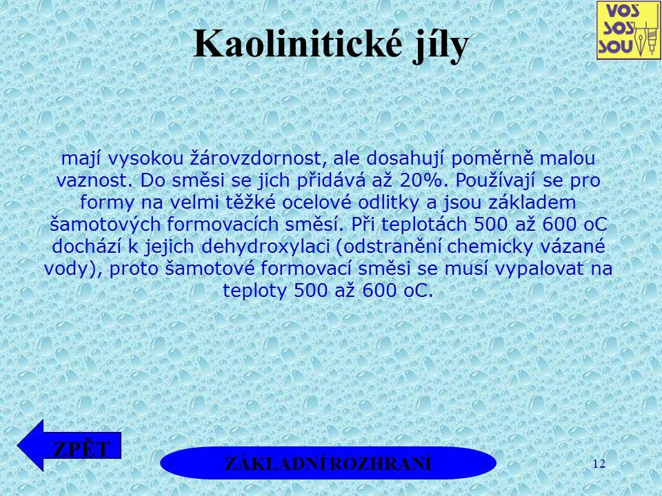 12 Kaolinitické jíly mají vysokou žárovzdornost, ale dosahují poměrně malou vaznost. Do směsi se jich přidává až 20%. Používají se pro formy na velmi