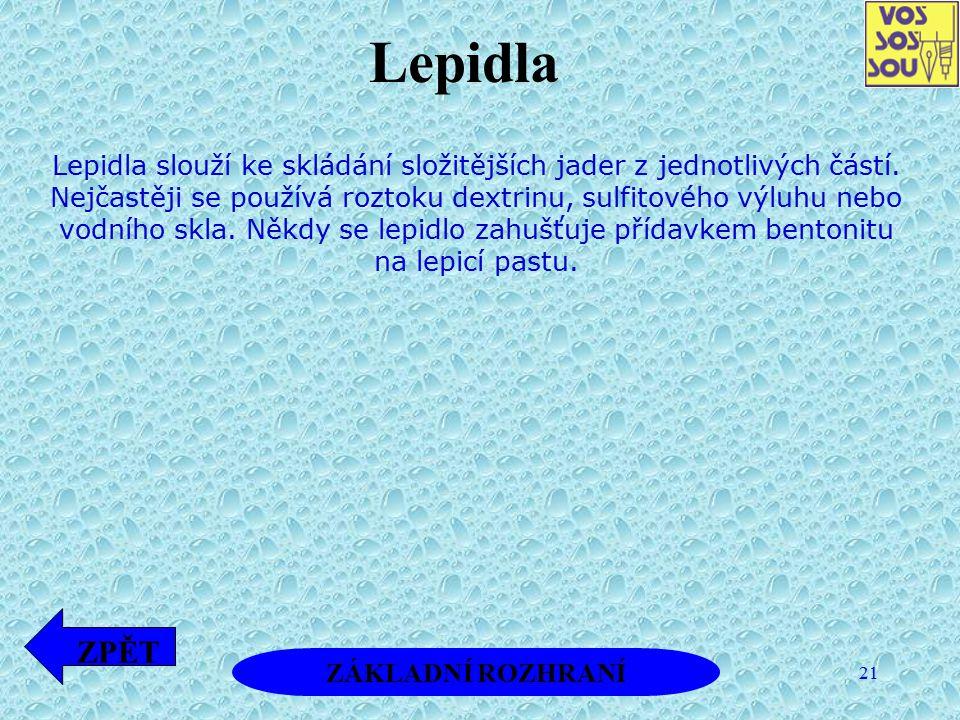 21 Lepidla slouží ke skládání složitějších jader z jednotlivých částí. Nejčastěji se používá roztoku dextrinu, sulfitového výluhu nebo vodního skla. N