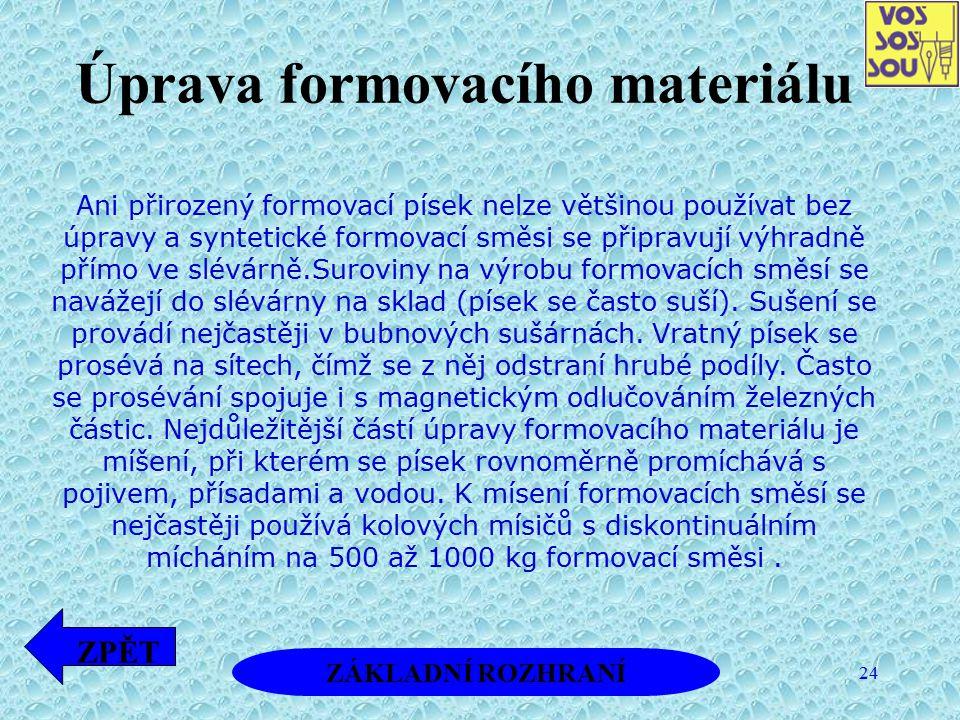 24 Úprava formovacího materiálu Ani přirozený formovací písek nelze většinou používat bez úpravy a syntetické formovací směsi se připravují výhradně p