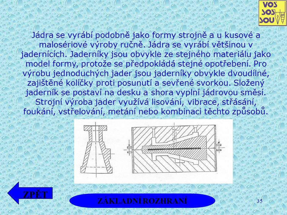 35 Jádra se vyrábí podobně jako formy strojně a u kusové a malosériové výroby ručně. Jádra se vyrábí většinou v jadernících. Jaderníky jsou obvykle ze