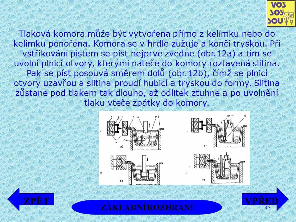 43 Tlaková komora může být vytvořena přímo z kelímku nebo do kelímku ponořena. Komora se v hrdle zužuje a končí tryskou. Při vstřikování pístem se pís