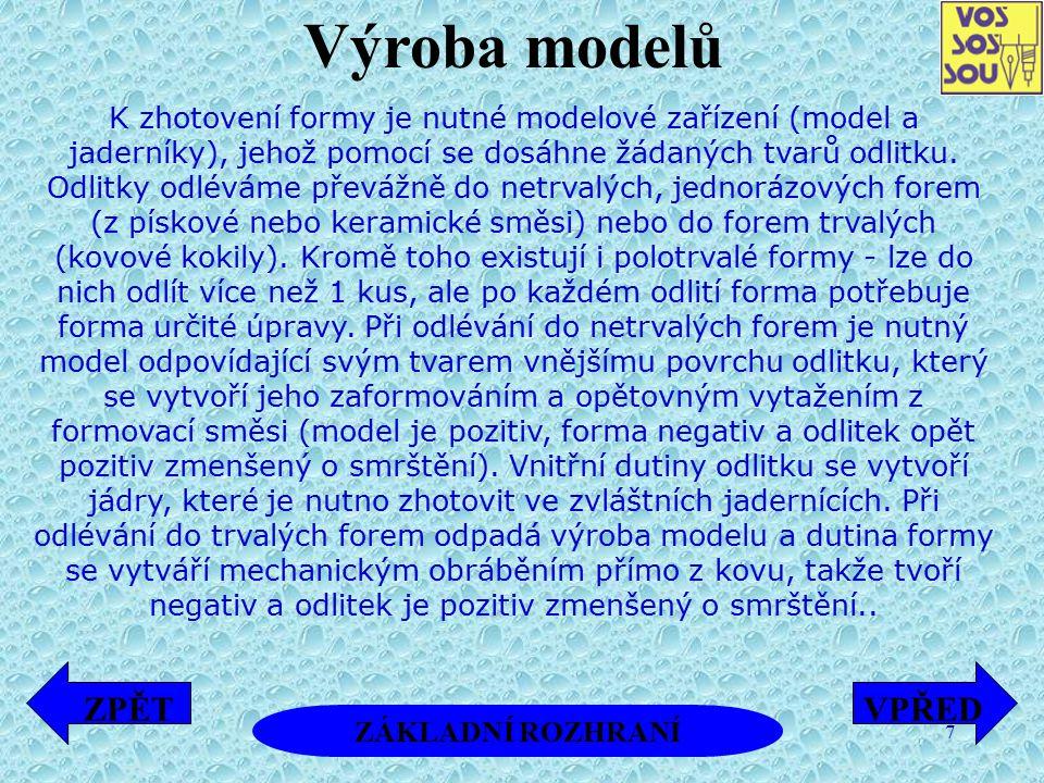7 2.1. Výroba modelů K zhotovení formy je nutné modelové zařízení (model a jaderníky), jehož pomocí se dosáhne žádaných tvarů odlitku. Odlitky odlévám