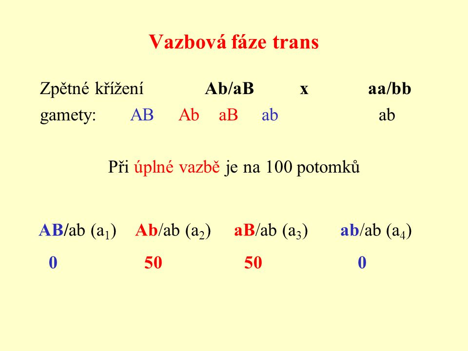 Vazbová fáze trans Zpětné křížení Ab/aB x aa/bb gamety: AB Ab aB ab ab Při úplné vazbě je na 100 potomků AB/ab (a 1 ) Ab/ab (a 2 ) aB/ab (a 3 ) ab/ab (a 4 ) 0 50 50 0