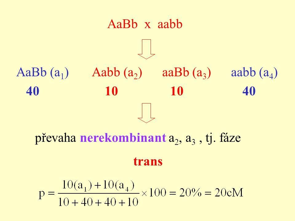 AaBb x aabb převaha nerekombinant a 2, a 3, tj.