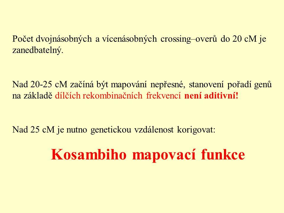 Počet dvojnásobných a vícenásobných crossing–overů do 20 cM je zanedbatelný.