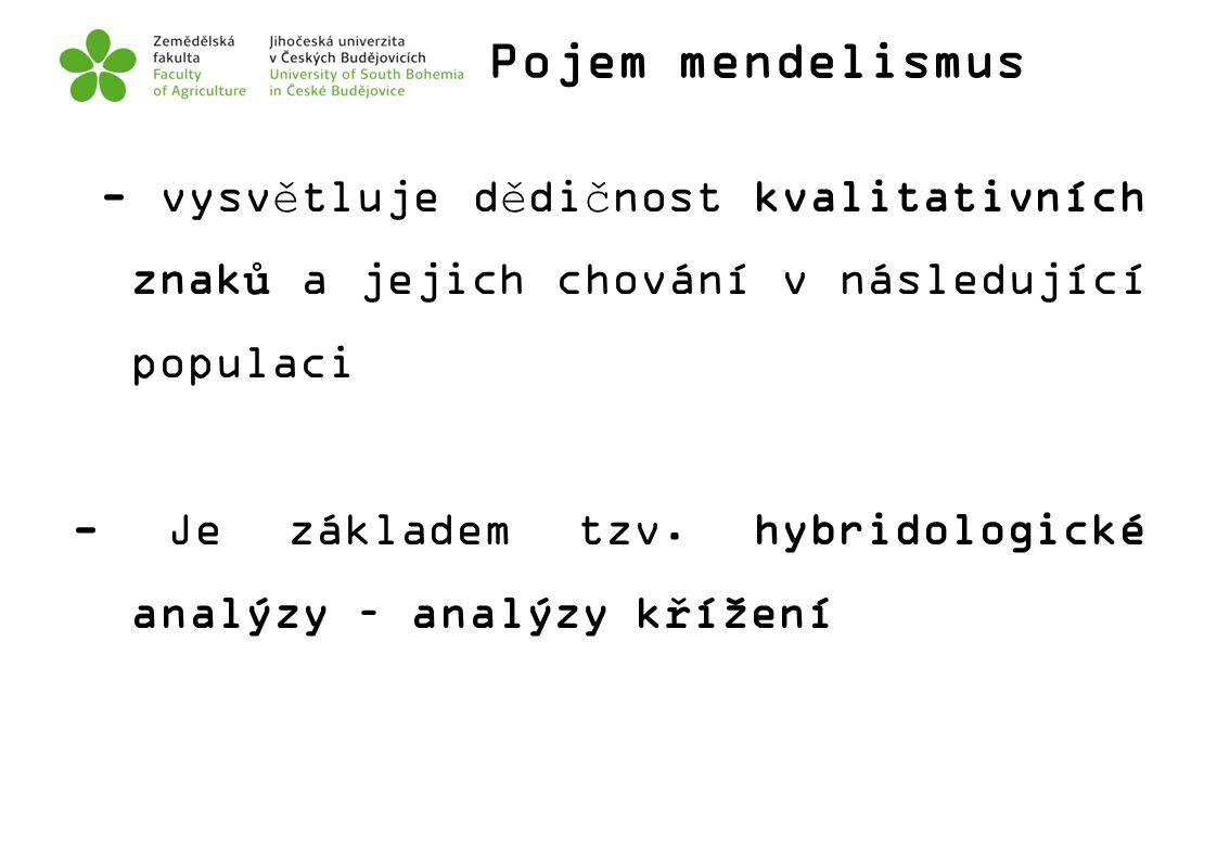 Pojem mendelismus - vysvětluje dědičnost kvalitativních znaků a jejich chování v následující populaci - Je základem tzv. hybridologické analýzy – anal