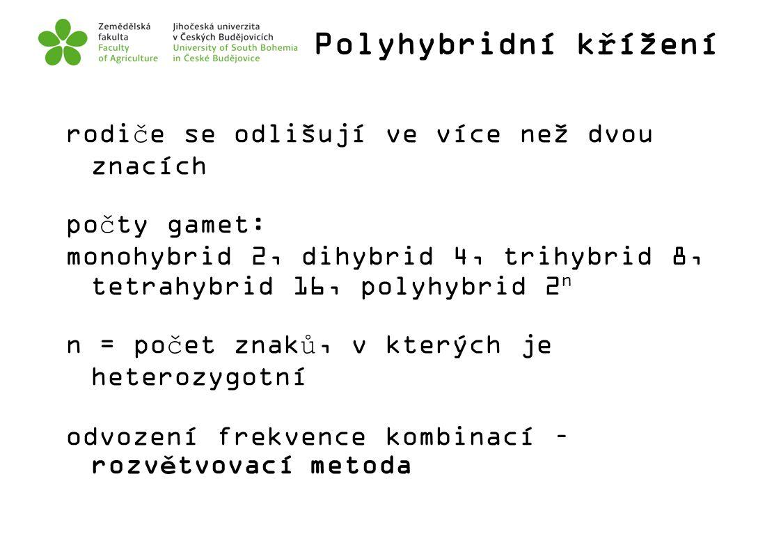 Polyhybridní křížení rodiče se odlišují ve více než dvou znacích počty gamet: monohybrid 2, dihybrid 4, trihybrid 8, tetrahybrid 16, polyhybrid 2 n n
