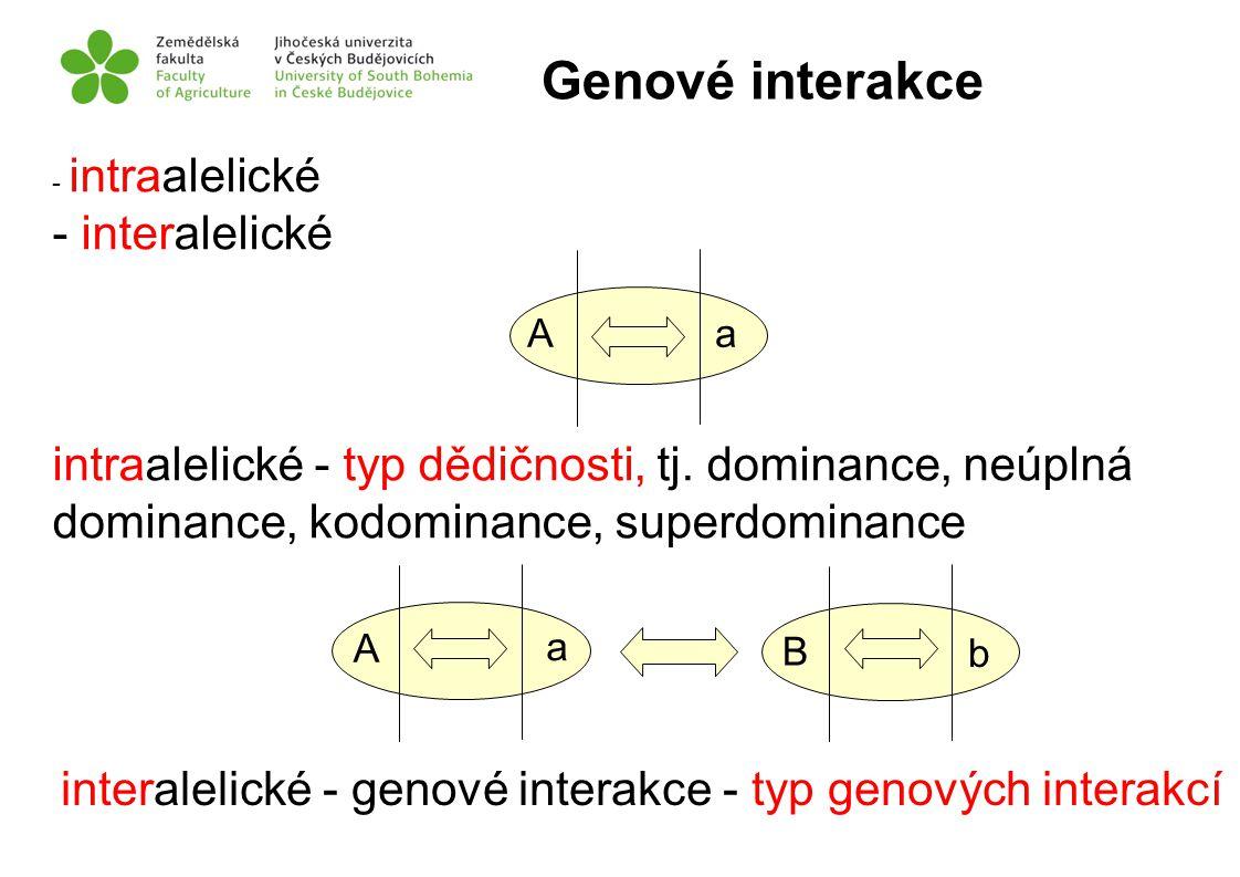 - intraalelické - interalelické intraalelické - typ dědičnosti, tj. dominance, neúplná dominance, kodominance, superdominance interalelické - genové i