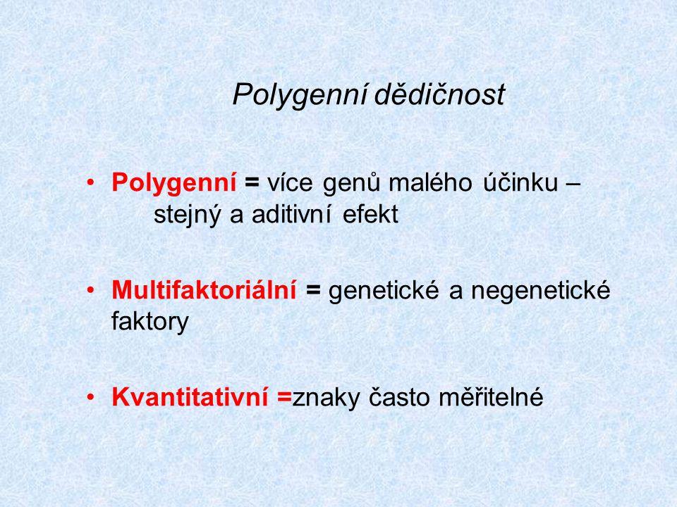 Polygenní = více genů malého účinku – stejný a aditivní efekt Multifaktoriální = genetické a negenetické faktory Kvantitativní =znaky často měřitelné Polygenní dědičnost