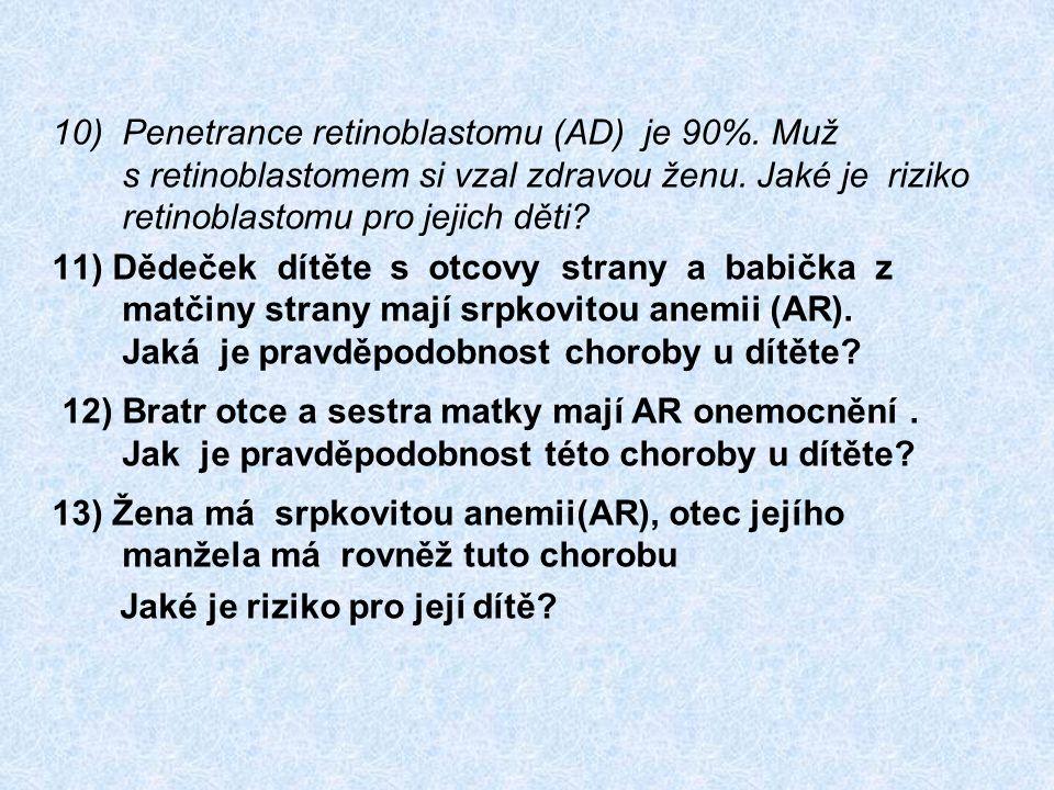 10)Penetrance retinoblastomu (AD) je 90%. Muž s retinoblastomem si vzal zdravou ženu. Jaké je riziko retinoblastomu pro jejich děti? 11) Dědeček dítět