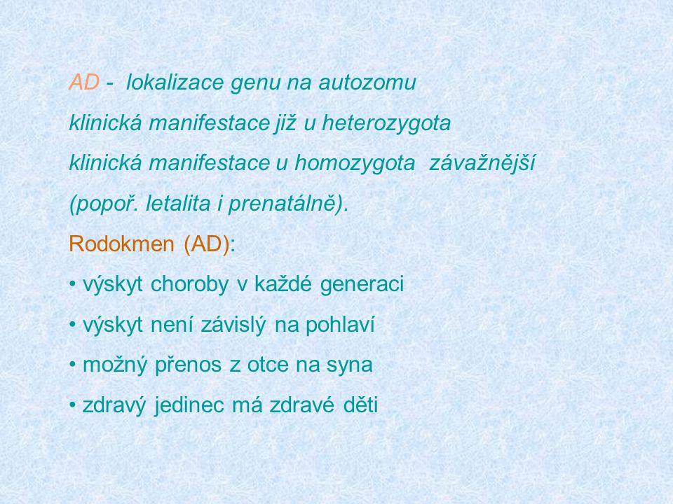AD - lokalizace genu na autozomu klinická manifestace již u heterozygota klinická manifestace u homozygota závažnější (popoř. letalita i prenatálně).
