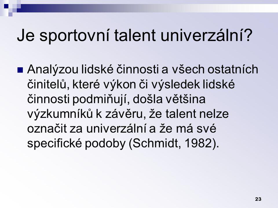 23 Je sportovní talent univerzální.