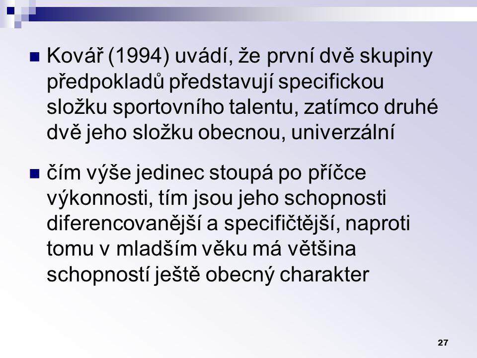 27 Kovář (1994) uvádí, že první dvě skupiny předpokladů představují specifickou složku sportovního talentu, zatímco druhé dvě jeho složku obecnou, univerzální čím výše jedinec stoupá po příčce výkonnosti, tím jsou jeho schopnosti diferencovanější a specifičtější, naproti tomu v mladším věku má většina schopností ještě obecný charakter