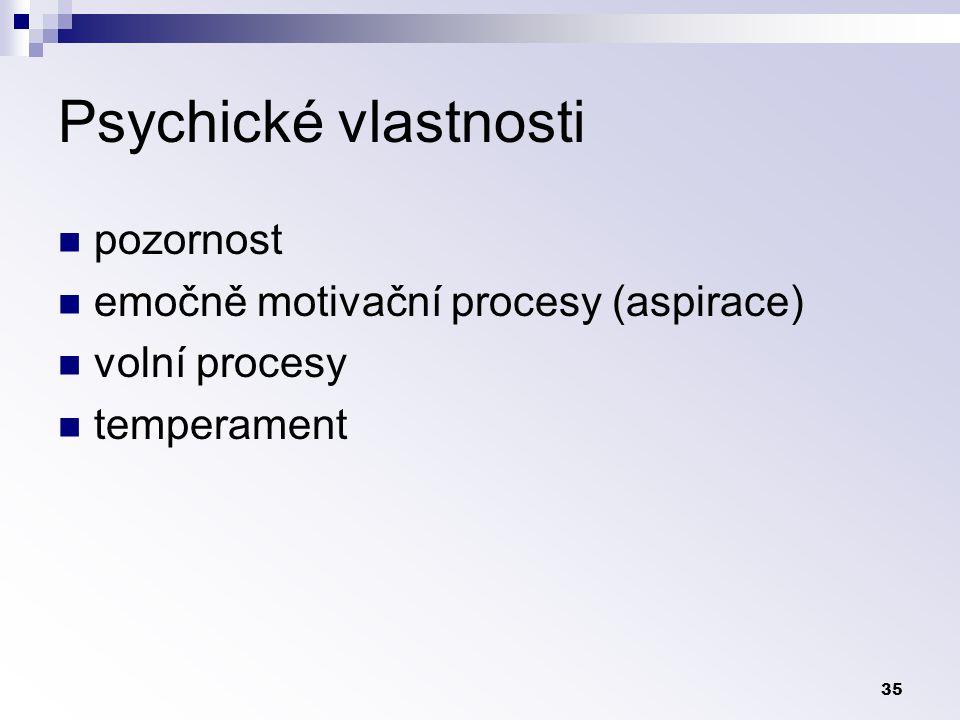 35 Psychické vlastnosti pozornost emočně motivační procesy (aspirace) volní procesy temperament
