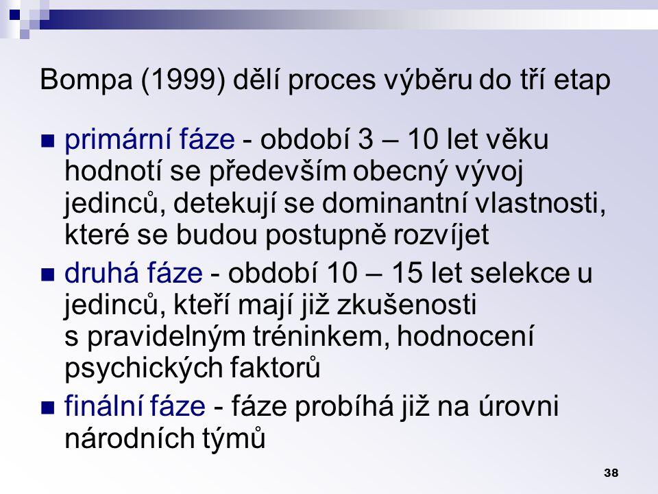 38 Bompa (1999) dělí proces výběru do tří etap primární fáze - období 3 – 10 let věku hodnotí se především obecný vývoj jedinců, detekují se dominantní vlastnosti, které se budou postupně rozvíjet druhá fáze - období 10 – 15 let selekce u jedinců, kteří mají již zkušenosti s pravidelným tréninkem, hodnocení psychických faktorů finální fáze - fáze probíhá již na úrovni národních týmů