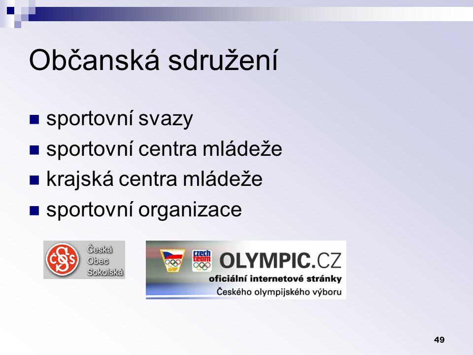 49 Občanská sdružení sportovní svazy sportovní centra mládeže krajská centra mládeže sportovní organizace