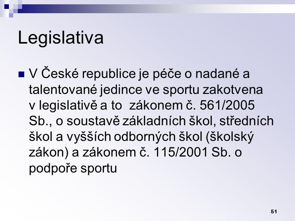 51 Legislativa V České republice je péče o nadané a talentované jedince ve sportu zakotvena v legislativě a to zákonem č.