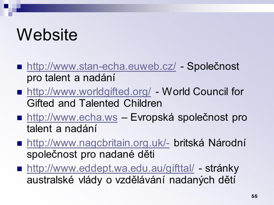55 Website http://www.stan-echa.euweb.cz/ - Společnost pro talent a nadání http://www.stan-echa.euweb.cz/ http://www.worldgifted.org/ - World Council for Gifted and Talented Children http://www.worldgifted.org/ http://www.echa.ws – Evropská společnost pro talent a nadání http://www.echa.ws http://www.nagcbritain.org.uk/- britská Národní společnost pro nadané děti http://www.nagcbritain.org.uk/- http://www.eddept.wa.edu.au/gifttal/ - stránky australské vlády o vzdělávání nadaných dětí http://www.eddept.wa.edu.au/gifttal/