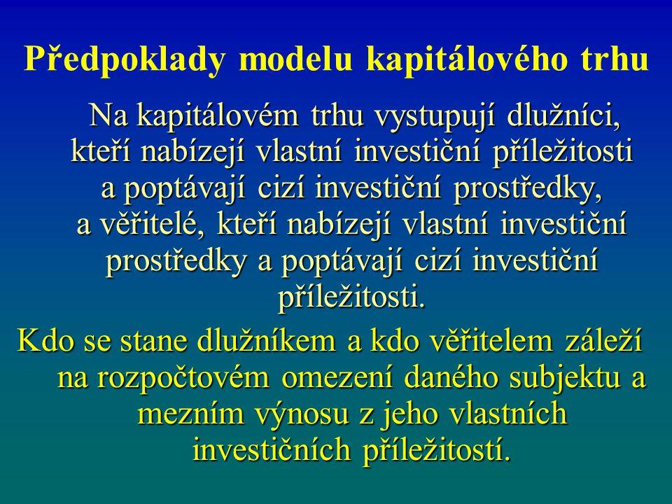 Předpoklady modelu kapitálového trhu Na kapitálovém trhu vystupují dlužníci, kteří nabízejí vlastní investiční příležitosti a poptávají cizí investičn