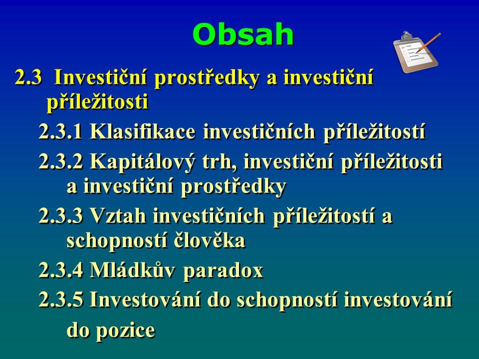 Obsah 2.3 Investiční prostředky a investiční příležitosti 2.3.1 Klasifikace investičních příležitostí 2.3.2 Kapitálový trh, investiční příležitosti a