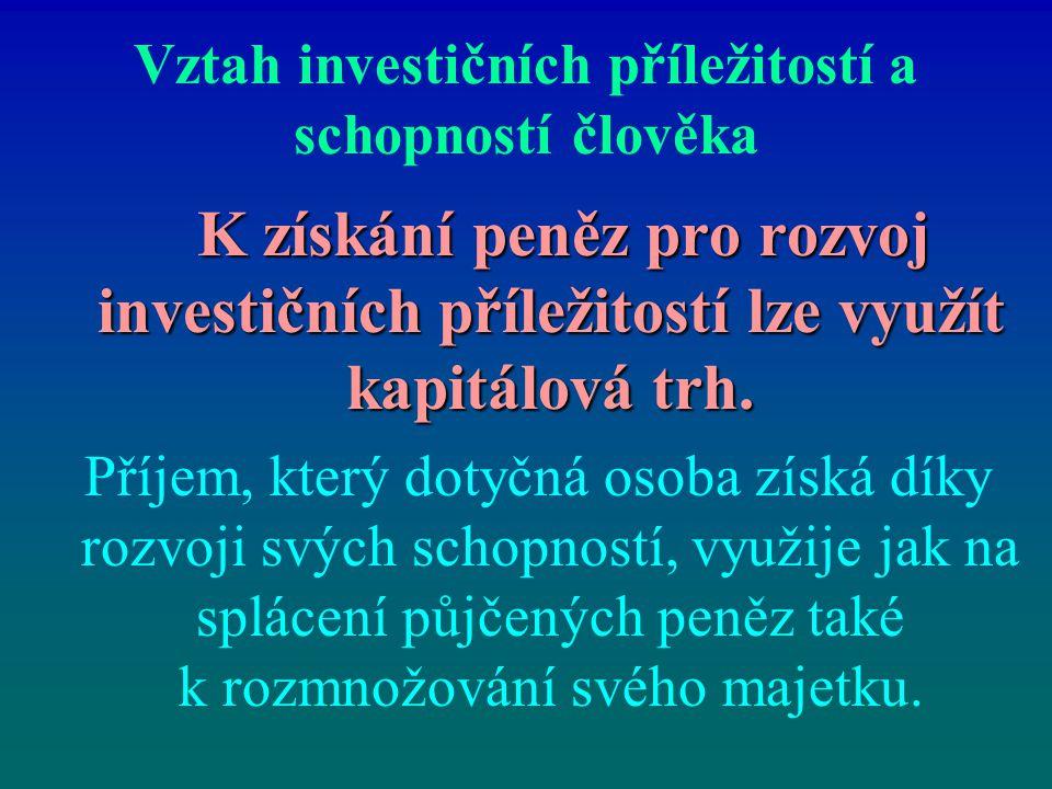 Vztah investičních příležitostí a schopností člověka K získání peněz pro rozvoj investičních příležitostí lze využít kapitálová trh. K získání peněz p