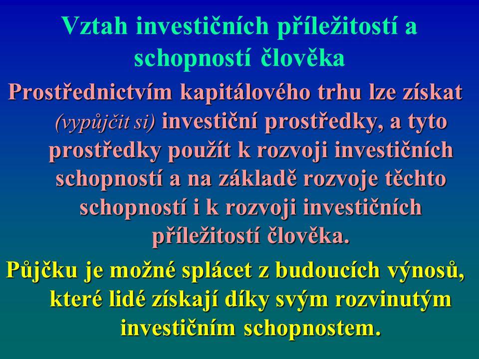 Vztah investičních příležitostí a schopností člověka Prostřednictvím kapitálového trhu lze získat (vypůjčit si) investiční prostředky, a tyto prostřed