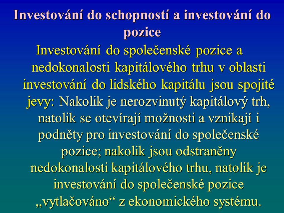 Investování do schopností a investování do pozice Investování do společenské pozice a nedokonalosti kapitálového trhu v oblasti investování do lidskéh