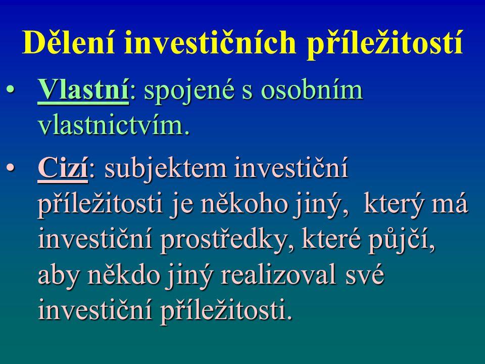 Dělení investičních příležitostí Vlastní: spojené s osobním vlastnictvím.Vlastní: spojené s osobním vlastnictvím. Cizí: subjektem investiční příležito