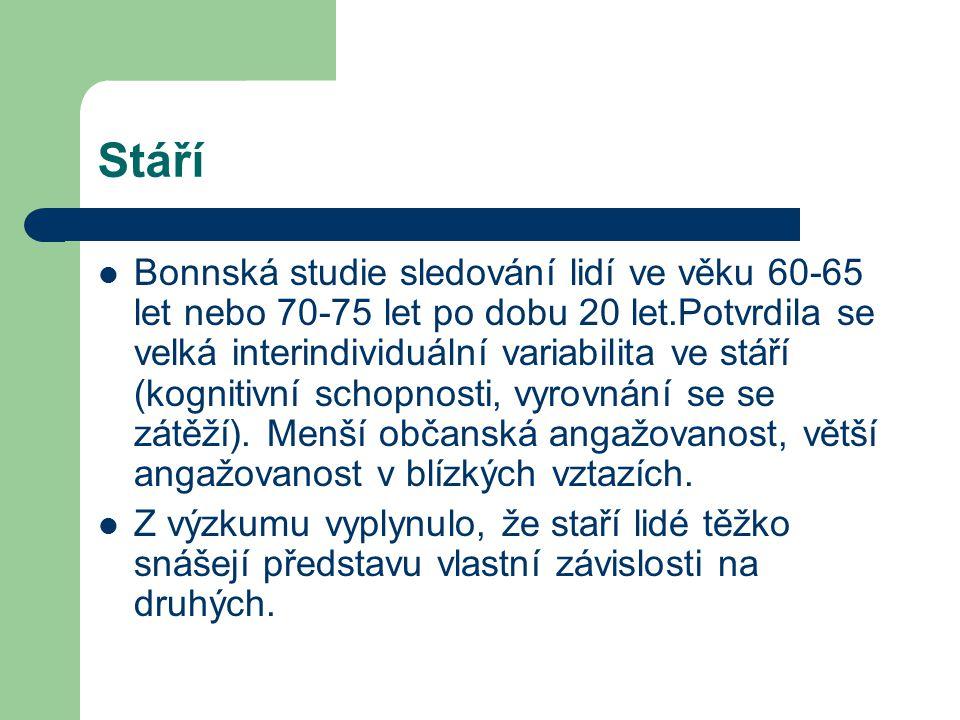 Stáří Bonnská studie sledování lidí ve věku 60-65 let nebo 70-75 let po dobu 20 let.Potvrdila se velká interindividuální variabilita ve stáří (kogniti