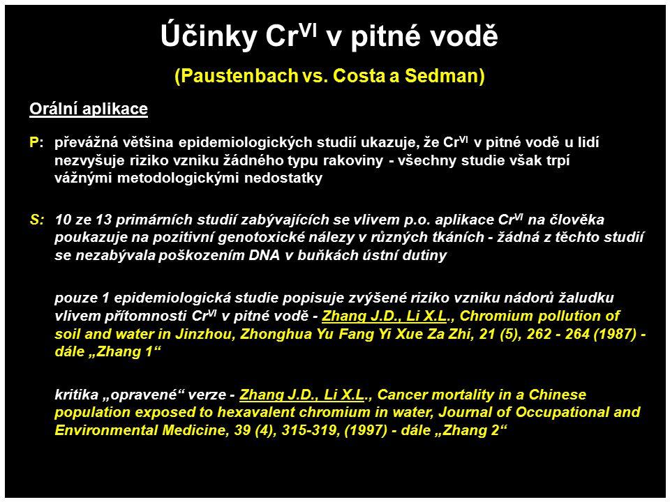 Účinky Cr VI v pitné vodě (Paustenbach vs. Costa a Sedman) Orální aplikace P:převážná většina epidemiologických studií ukazuje, že Cr VI v pitné vodě