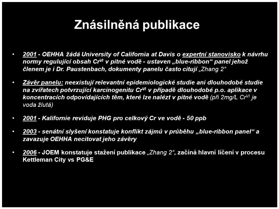 Znásilněná publikace 2001 - OEHHA žádá University of California at Davis o expertní stanovisko k návrhu normy regulující obsah Cr VI v pitné vodě - us
