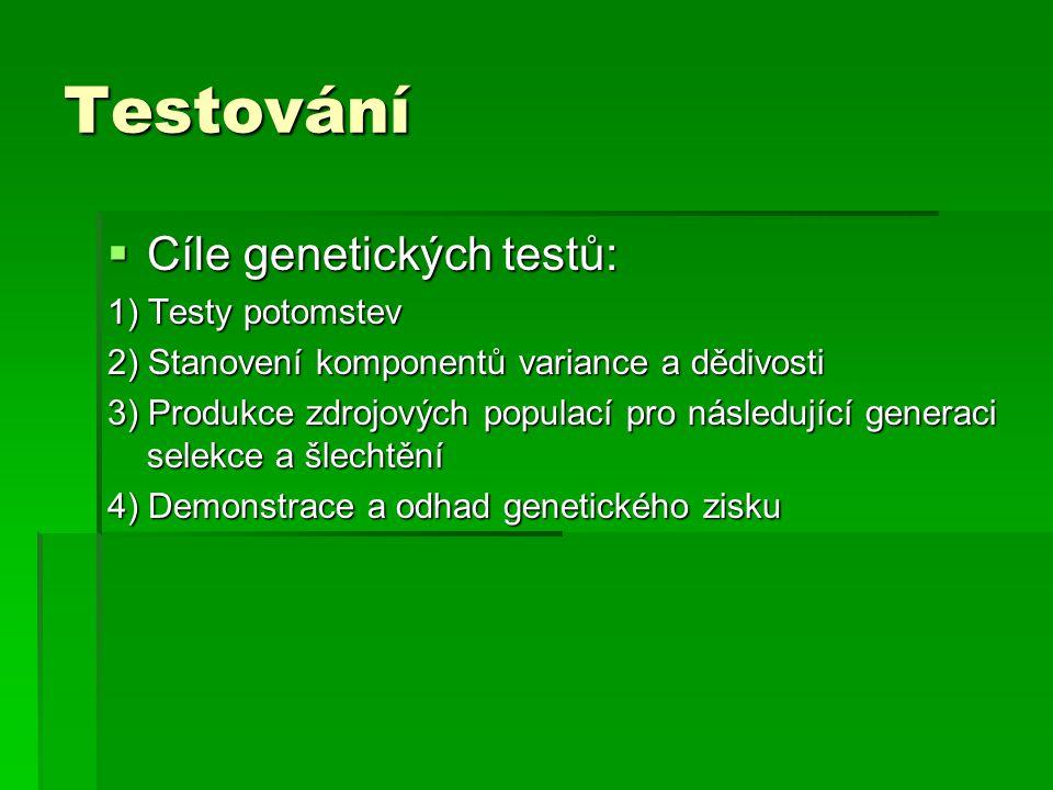 Testování  Cíle genetických testů: 1) Testy potomstev 2) Stanovení komponentů variance a dědivosti 3) Produkce zdrojových populací pro následující ge