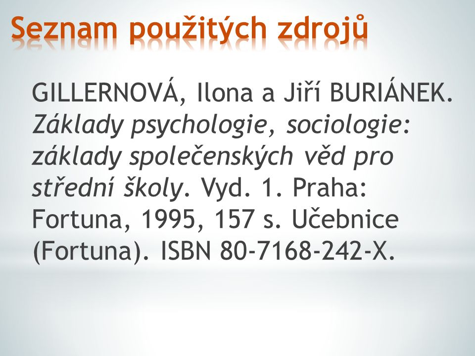 GILLERNOVÁ, Ilona a Jiří BURIÁNEK. Základy psychologie, sociologie: základy společenských věd pro střední školy. Vyd. 1. Praha: Fortuna, 1995, 157 s.