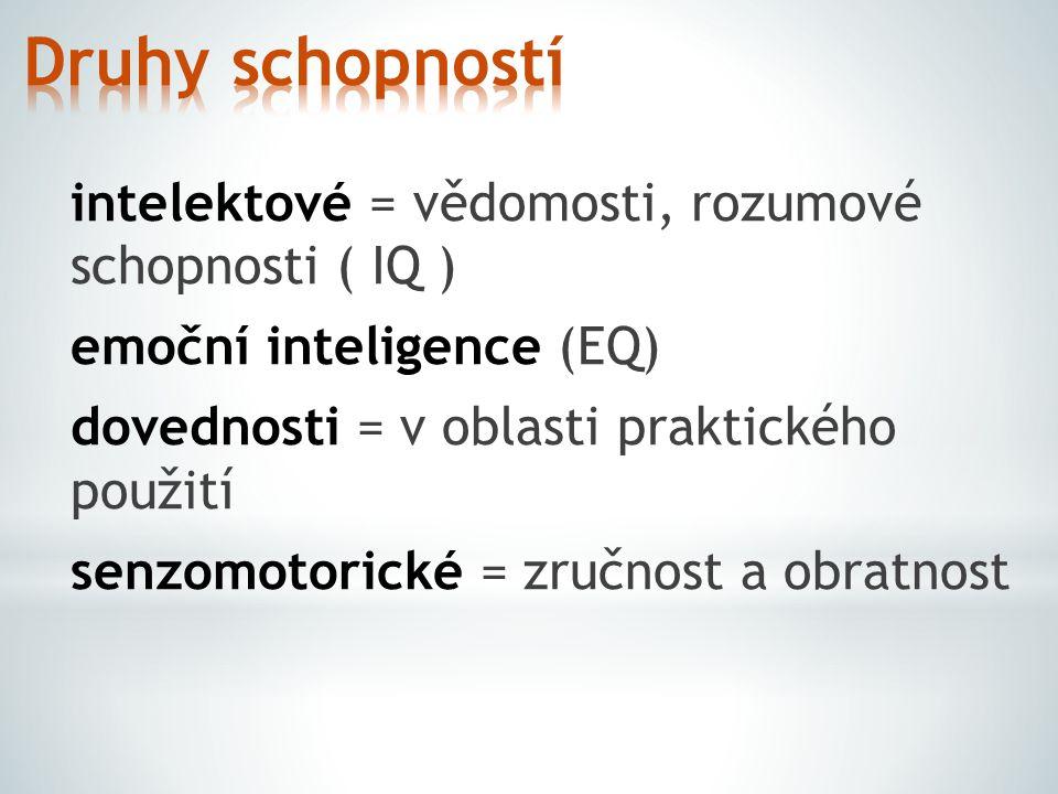 intelektové = vědomosti, rozumové schopnosti ( IQ ) emoční inteligence (EQ) dovednosti = v oblasti praktického použití senzomotorické = zručnost a obr