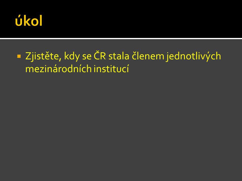  Zjistěte, kdy se ČR stala členem jednotlivých mezinárodních institucí