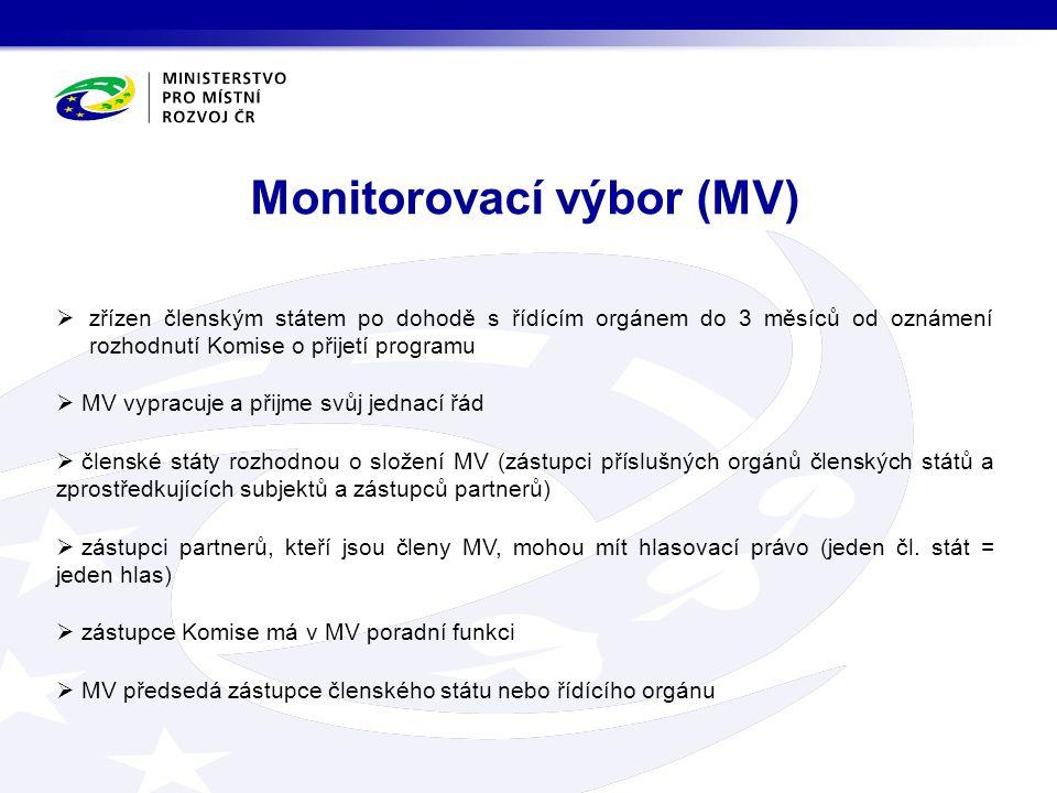  zřízen členským státem po dohodě s řídícím orgánem do 3 měsíců od oznámení rozhodnutí Komise o přijetí programu  MV vypracuje a přijme svůj jednací