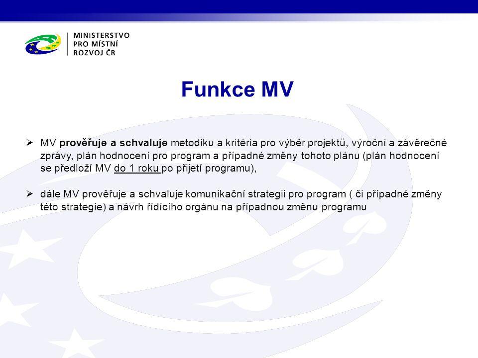 MV prověřuje a schvaluje metodiku a kritéria pro výběr projektů, výroční a závěrečné zprávy, plán hodnocení pro program a případné změny tohoto plánu (plán hodnocení se předloží MV do 1 roku po přijetí programu),  dále MV prověřuje a schvaluje komunikační strategii pro program ( či případné změny této strategie) a návrh řídícího orgánu na případnou změnu programu Funkce MV