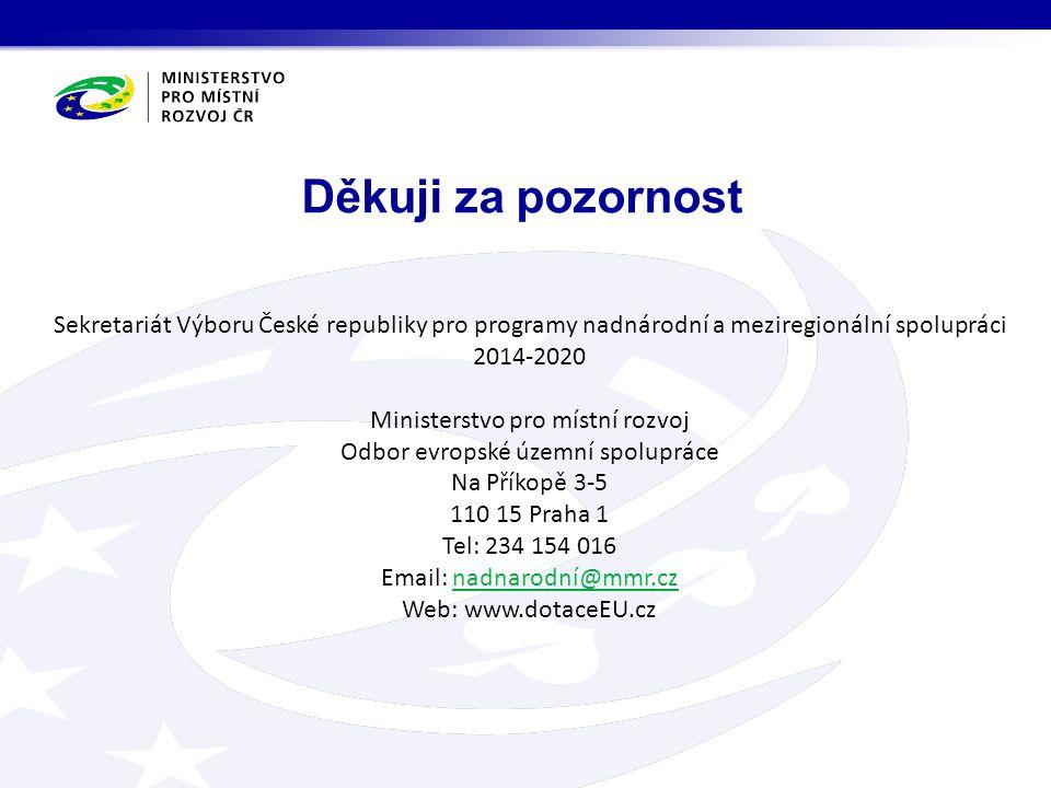 Děkuji za pozornost Sekretariát Výboru České republiky pro programy nadnárodní a meziregionální spolupráci 2014-2020 Ministerstvo pro místní rozvoj Od