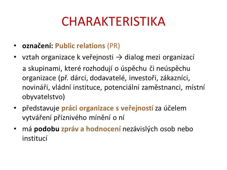 CHARAKTERISTIKA označení: Public relations (PR) vztah organizace k veřejnosti → dialog mezi organizací a skupinami, které rozhodují o úspěchu či neúspěchu organizace (př.