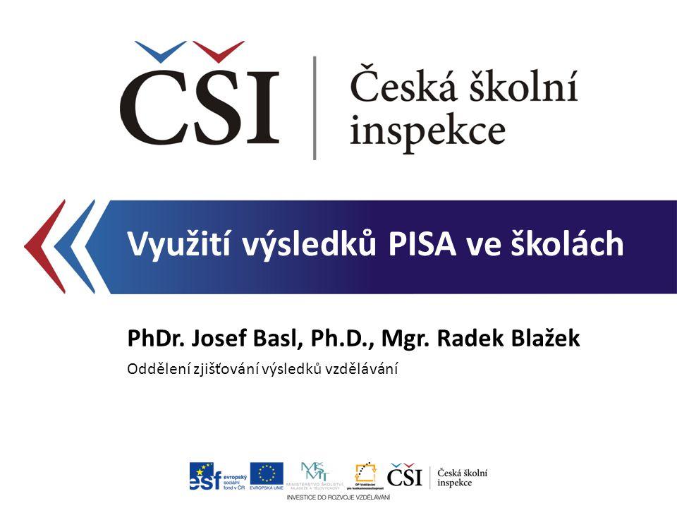 Co PISA nabízí Výstupy a využití – přehled Školní zpráva Využití na úrovni školy Zaměření prezentace Využití výsledků PISA ve školách